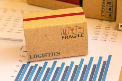 Small cardboard box with printed words for logistics