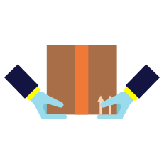 hands lifting box icon